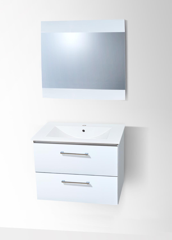 Plan-vasque Comete 72 cm avec meuble à deux tiroirs et miroir