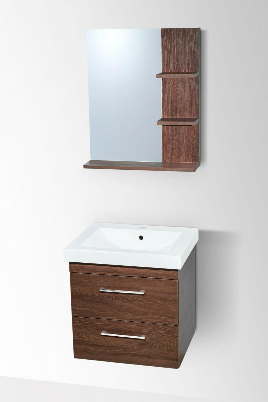 Plan-vasque Spazio 60 cm avec meuble à deux tiroirs et miroir avec étagères