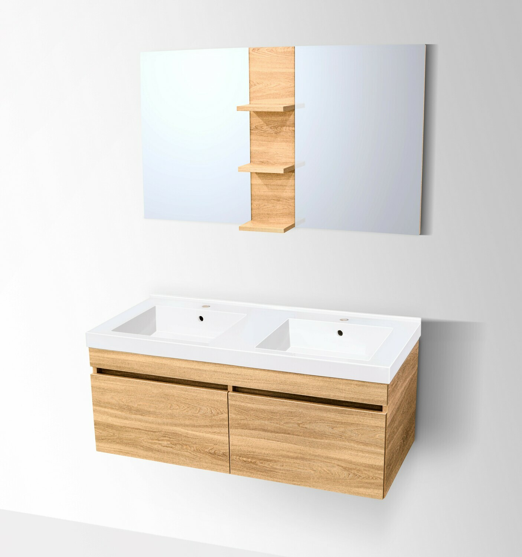 Plan-vasque Surf 120 cm double avec meuble et miroir