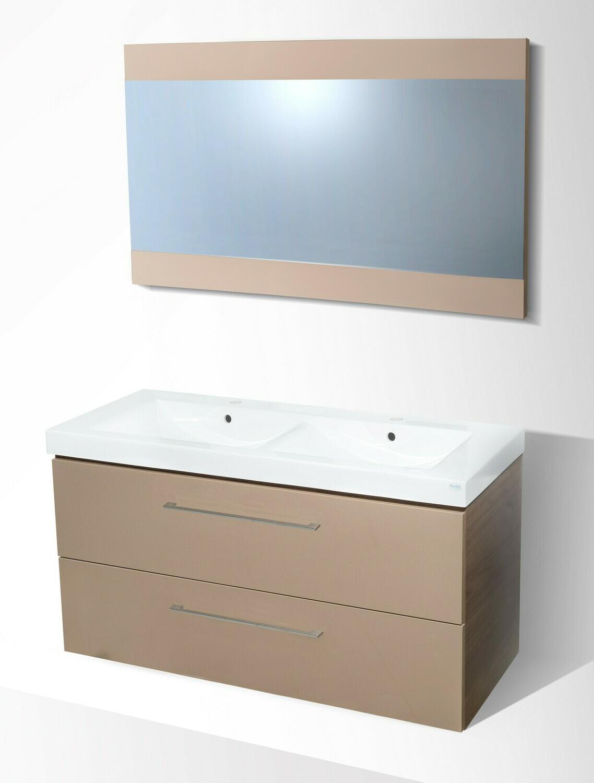 Plan-vasque double Spazio 120 cm avec meuble à deux tiroirs et miroir