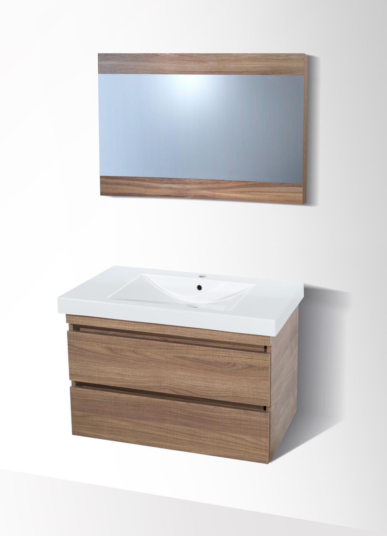 Plan-vasque Spazio 80 cm avec meuble à deux tiroirs et miroir