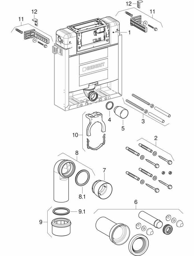 Ensemble des pièces détachées | Bâti-support Geberit Kombifix Alpha 12 cm