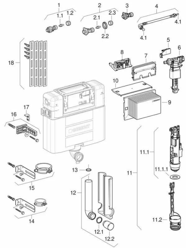 Ensemble des pièces détachées | Réservoir encastré Geberit Alpha 12 cm Kombifix et Duofix