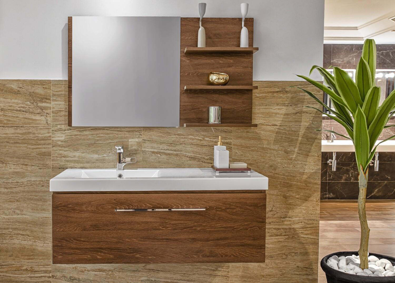 Plan-vasque Spazio 120 cm décentré avec meuble et miroir