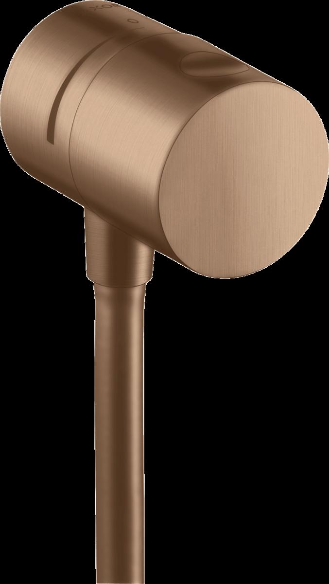 Coude de raccordement Axor Uno  avec robinet d'arrêt intégré en Or rouge brossé