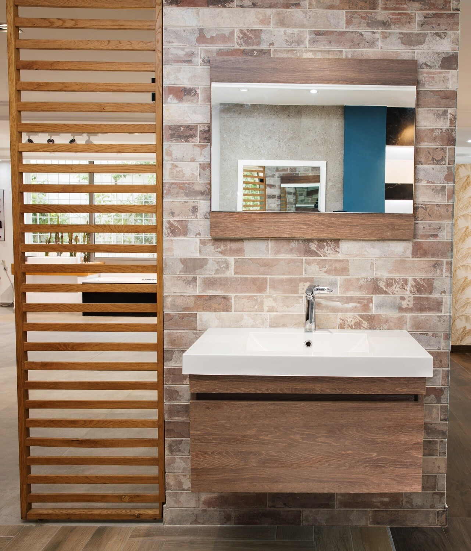 Plan-vasque Spazio 80 cm avec meuble et miroir