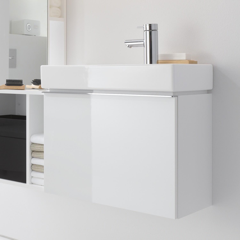 Meuble bas Geberit iCon pour lave-mains 53 cm avec un tiroir en blanc laqué ultra-brillant