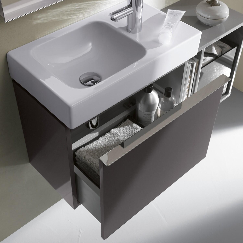 Meuble bas Geberit iCon pour lave-mains 53 cm avec un tiroir en platine laqué ultra-brillant