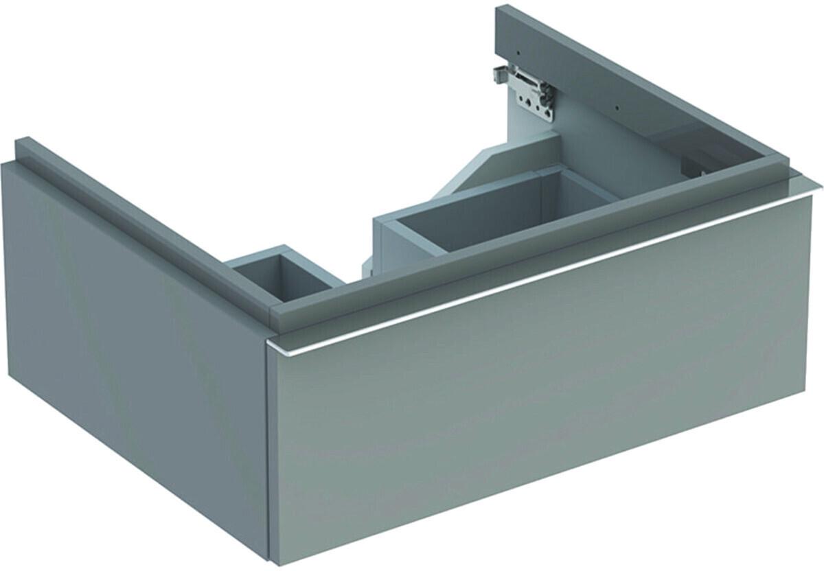 Meuble bas pour lavabo Geberit iCon 75 cm avec un tiroir en platine laqué ultra-brillant