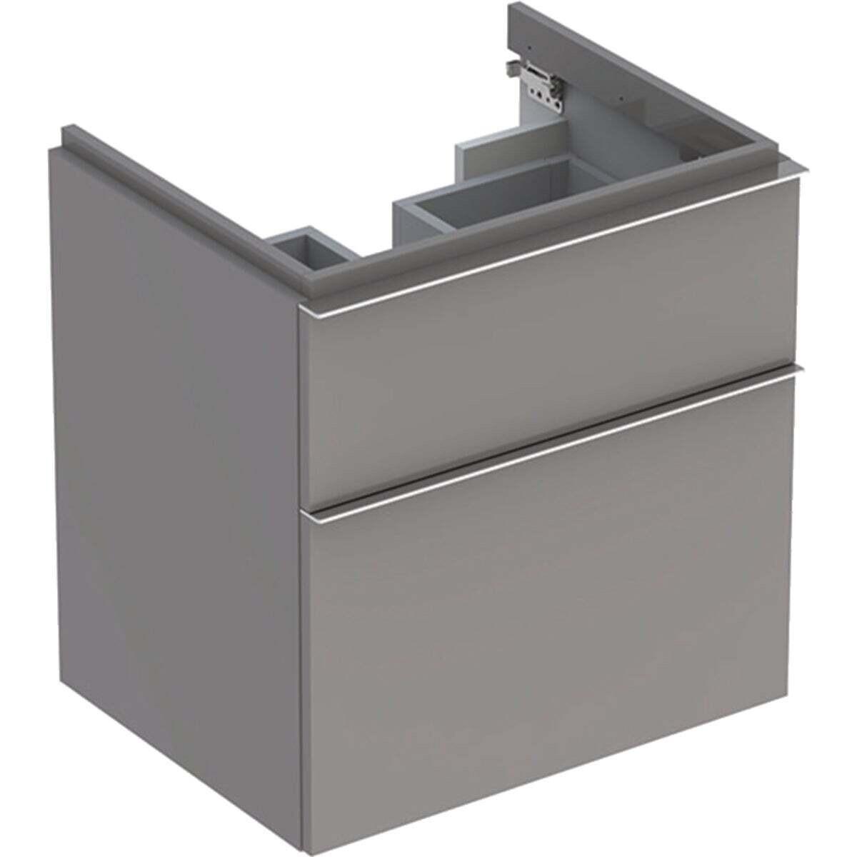 Meuble bas pour lavabo Geberit iCon 60 cm avec deux tiroirs platine laqué ultra-brillant