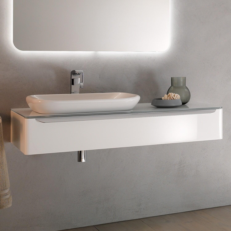 Meuble bas pour vasque encastrer Geberit myDay 60 cm avec un tiroir en blanc laqué ultra-brillant et un espace de rangement à gauche