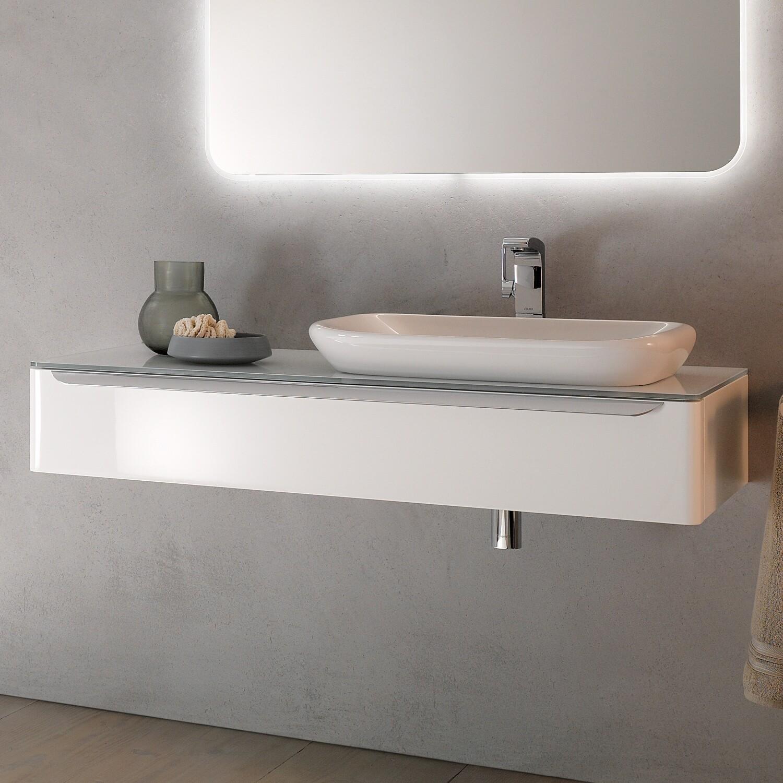 Meuble bas pour vasque encastrer Geberit myDay 60 cm avec un tiroir en blanc laqué ultra-brillant et un espace de rangement à droite