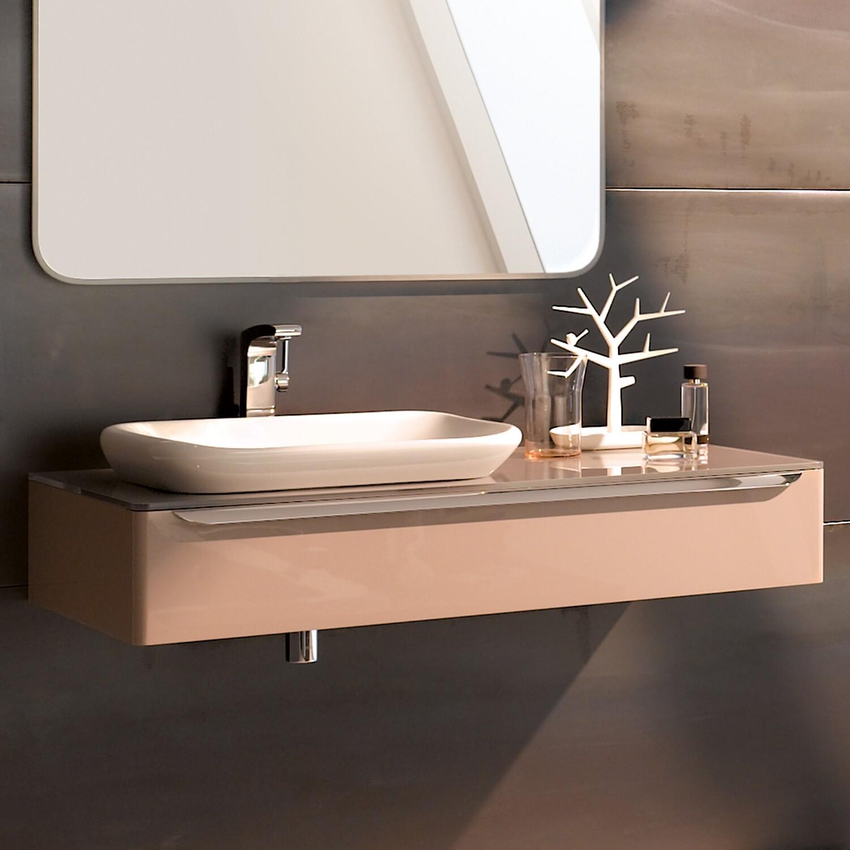 Meuble bas pour vasque encastrer Geberit myDay 60 cm avec un tiroir en taupe ultra-brillant avec un espace de rangement à gauche