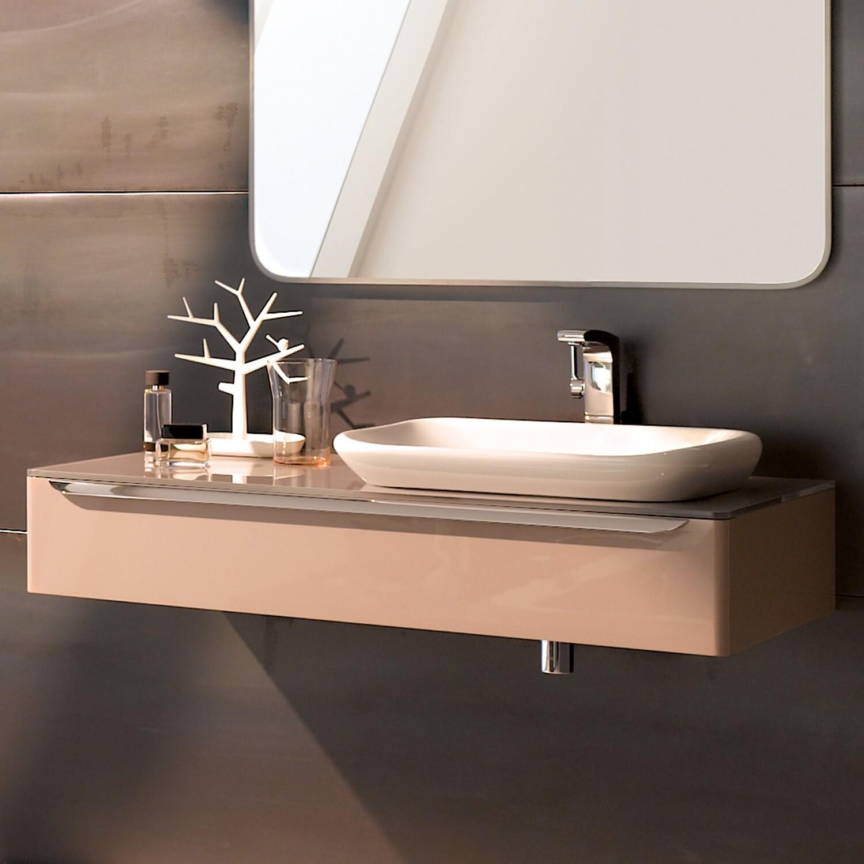 Meuble bas pour vasque encastrer Geberit myDay 60 cm avec un tiroir en taupe ultra-brillant avec un espace de rangement à droite
