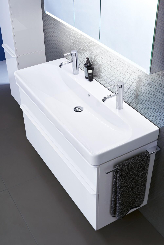 Meuble bas Geberit Smyle Square pour lavabo 120 cm avec deux tiroirs en blanc laqué ultra-brillant