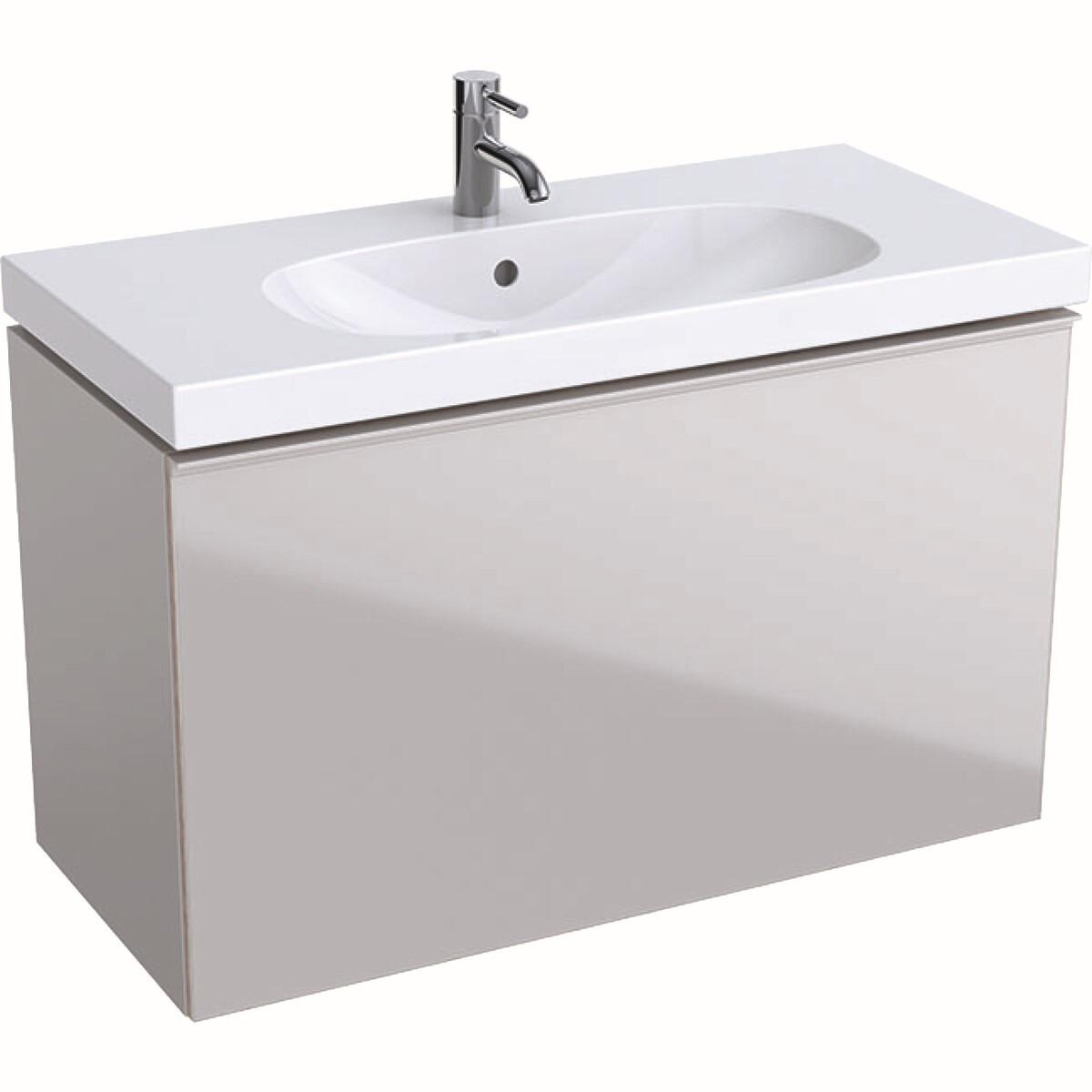 Meuble bas Geberit Acanto pour lavabo 90 cm avec un tiroir en verre sable gris-brillant