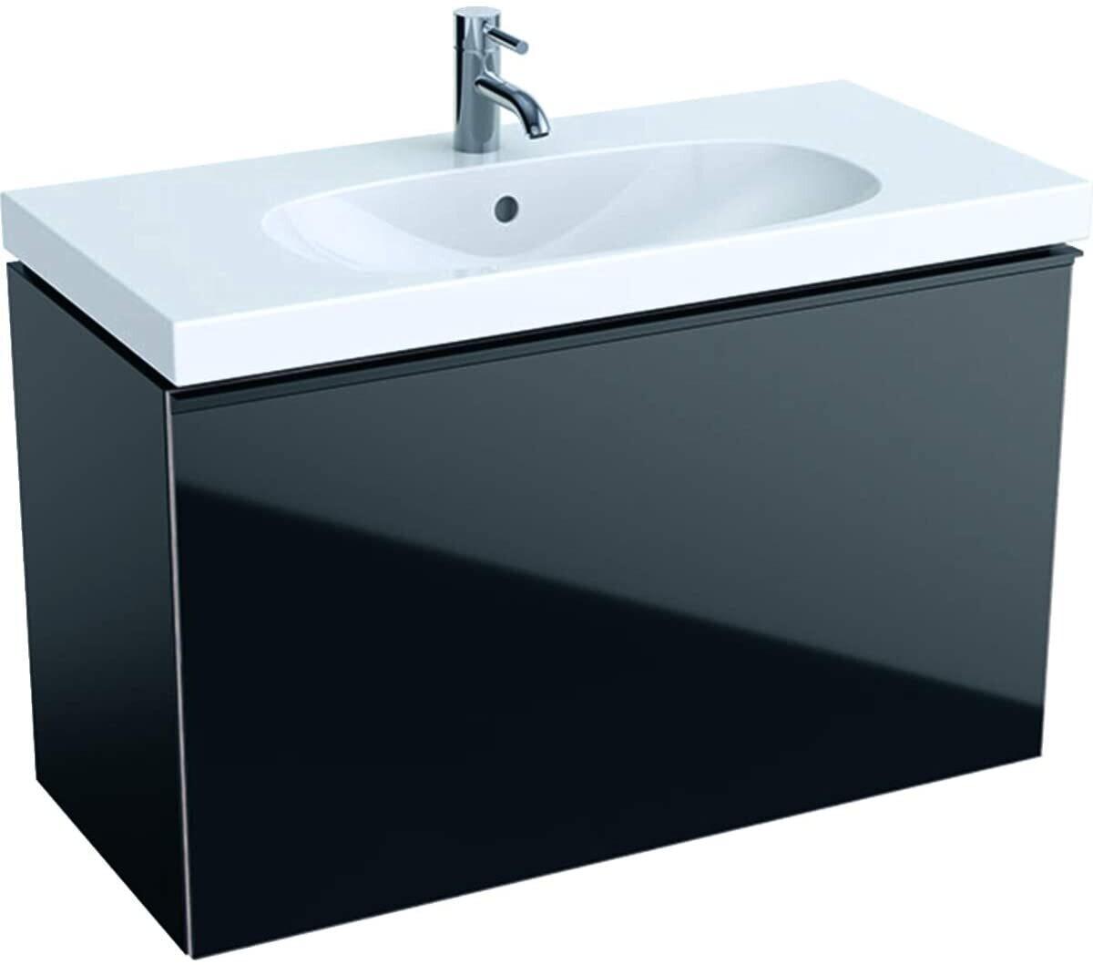 Meuble bas Geberit Acanto pour lavabo 90 cm avec un tiroir intérieur en noir laqué mat et un tiroirs noir verre brillant