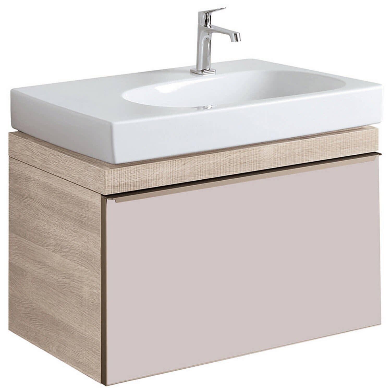 Meuble bas pour lavabo Geberit Citterio 75 cm en chêne beige et tiroir en verre taupe-brillant