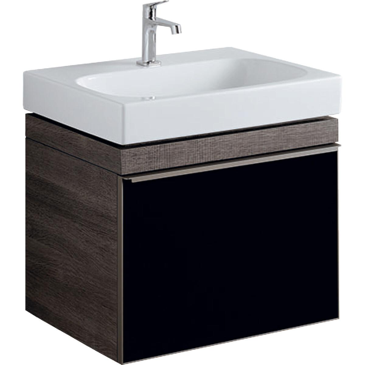 Meuble bas pour lavabo Geberit Citterio 75 cm en brun-gris et tiroir en verre noir-brillant