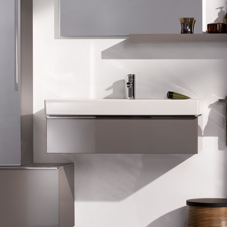 Meuble bas pour lavabo Geberit iCon 90 cm avec un tiroir en platine laqué ultra-brillant