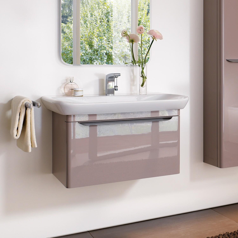 Meuble bas pour lavabo Geberit myDay 100 cm avec un tiroir et un tiroir intérieur en taupe laqué ultra-brillant