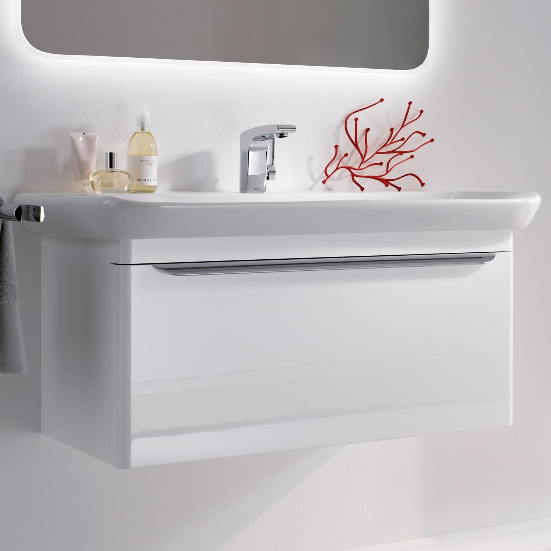 Meuble bas pour lavabo Geberit myDay 100 cm avec un tiroir et un tiroir intérieur en blanc laqué ultra-brillant