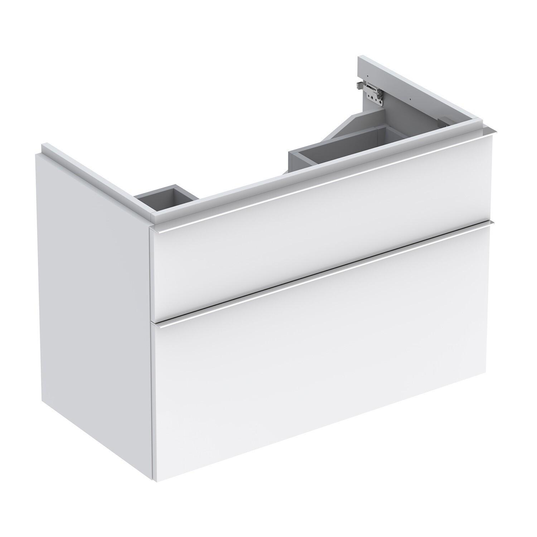 Meuble bas pour lavabo Geberit iCon 90 cm avec deux tiroirs en blanc laqué ultra-brillant