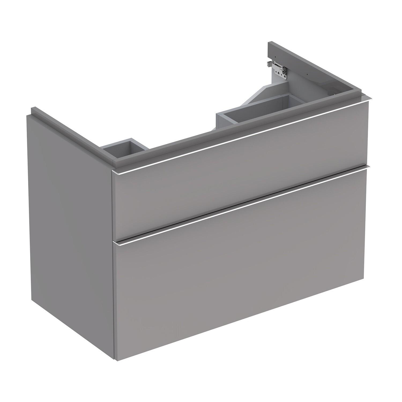 Meuble bas pour lavabo Geberit iCon 90 cm avec deux tiroirs en platine laqué ultra-brillant