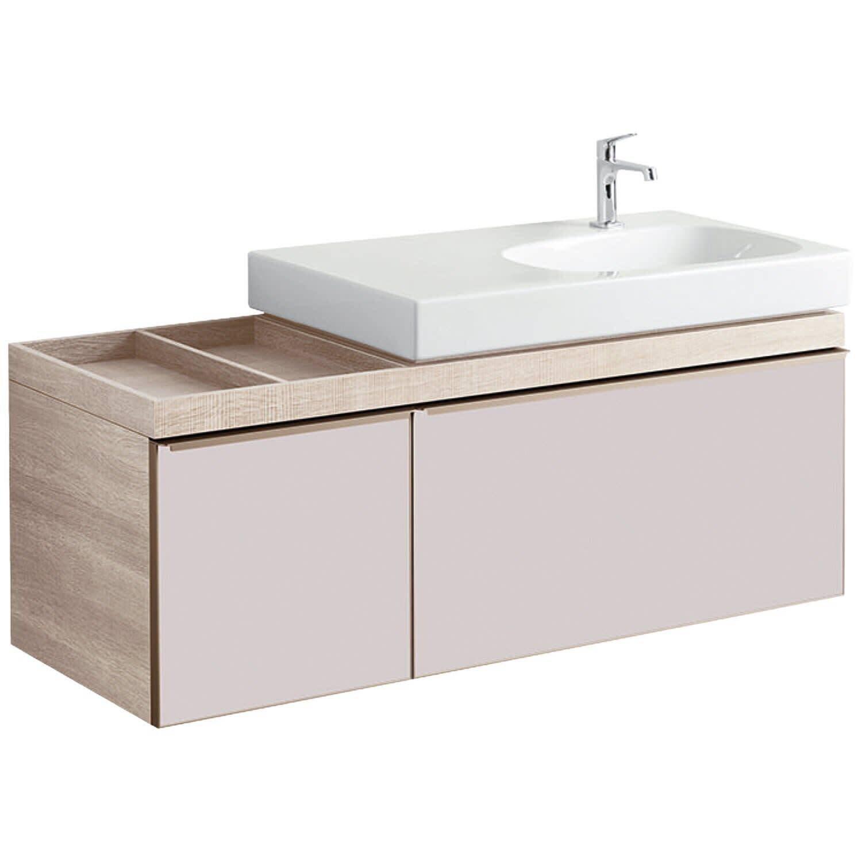 Meuble bas pour lavabo Geberit Citterio 90 cm en chêne beige avec un espace de rangement à gauche et deux tiroirs en taupe verre brillant