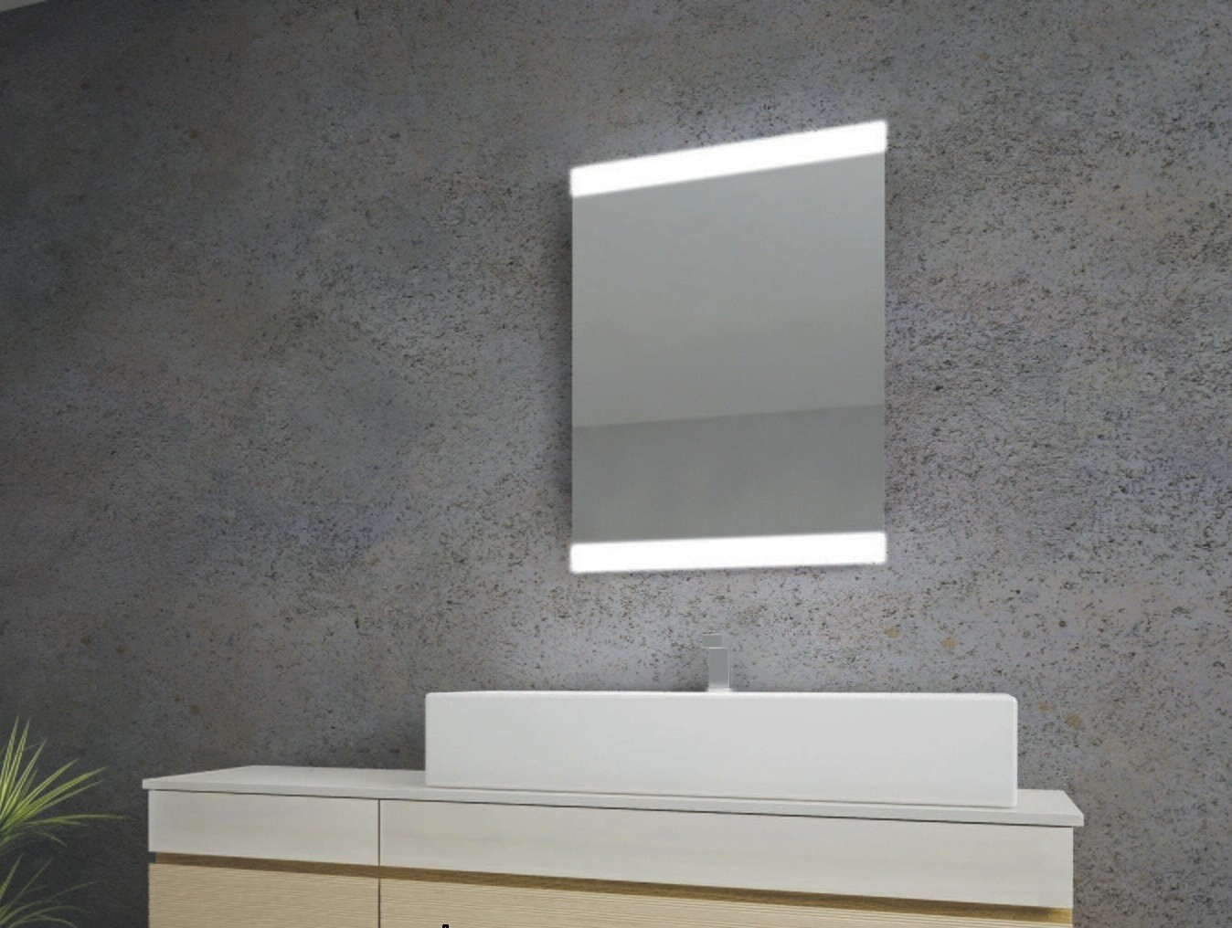 Miroir de salle de bains LED RBA série Mono 50 x 70 cm