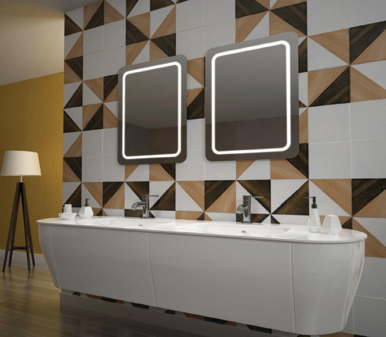 Miroir de salle de bains LED RBA série Slim 50 x 70 cm