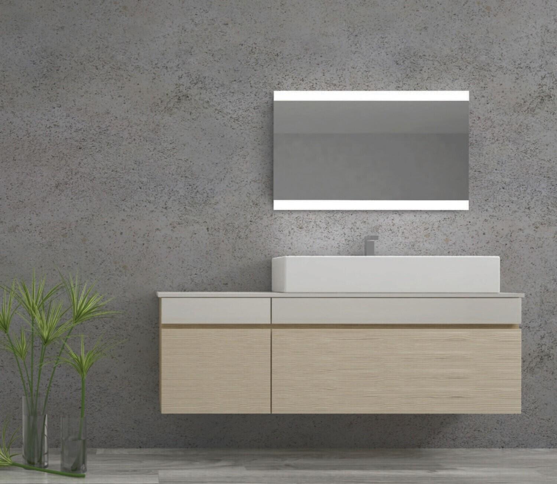 Miroir de salle de bains LED RBA série Mono (80 à 120 cm) x 60 cm