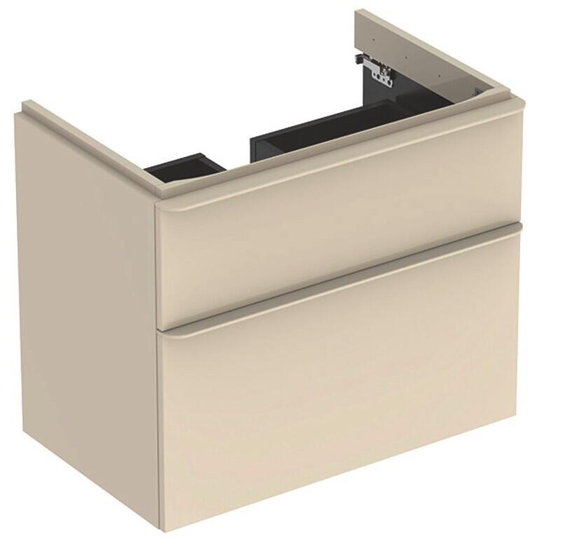 Meuble bas Geberit Smyle Square pour lavabo 60 cm avec deux tiroirs en gris sable laqué ultra-brillant