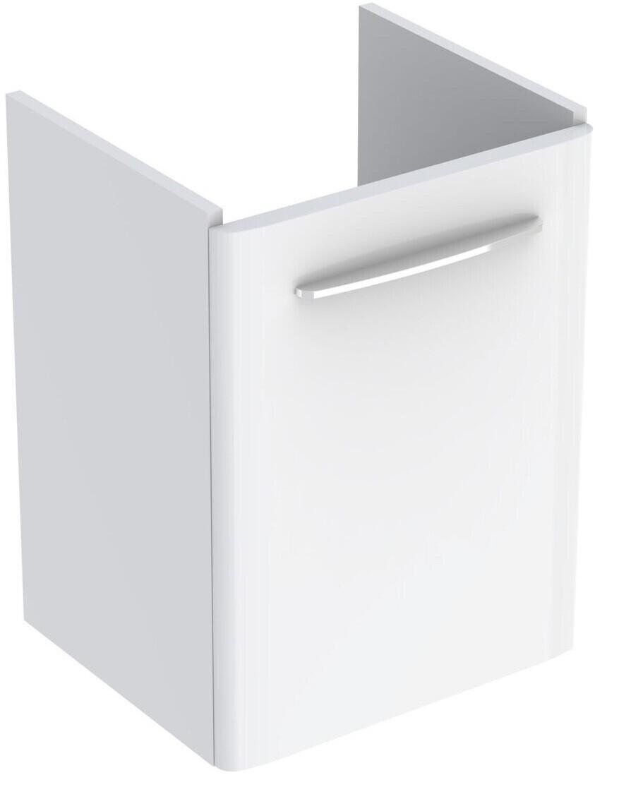 Meuble bas Geberit Selnova Square pour lavabo 55 cm avec une porte en blanc laqué ultra-brillant