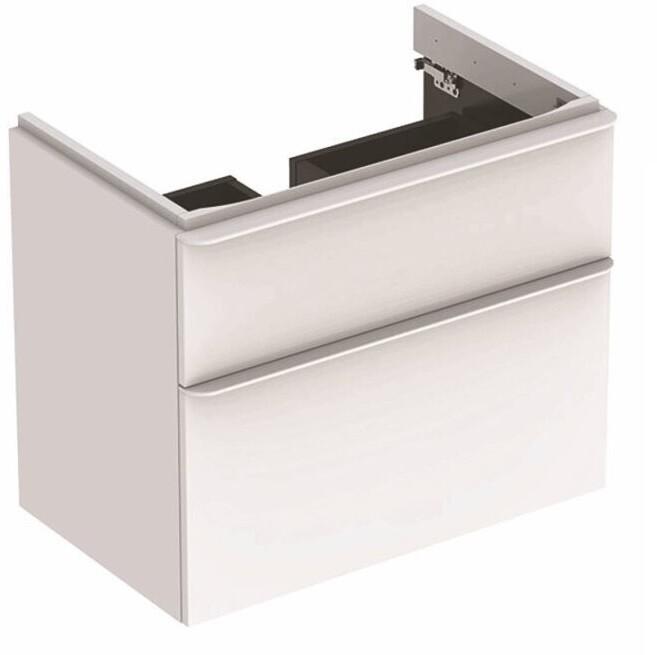 Meuble bas Geberit Smyle Square pour lavabo 60 cm avec deux tiroirs en blanc laqué ultra-brillant