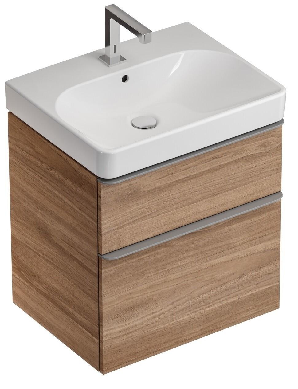 Meuble bas Geberit Smyle Square pour lavabo 75 cm avec deux tiroirs en noyer Carya