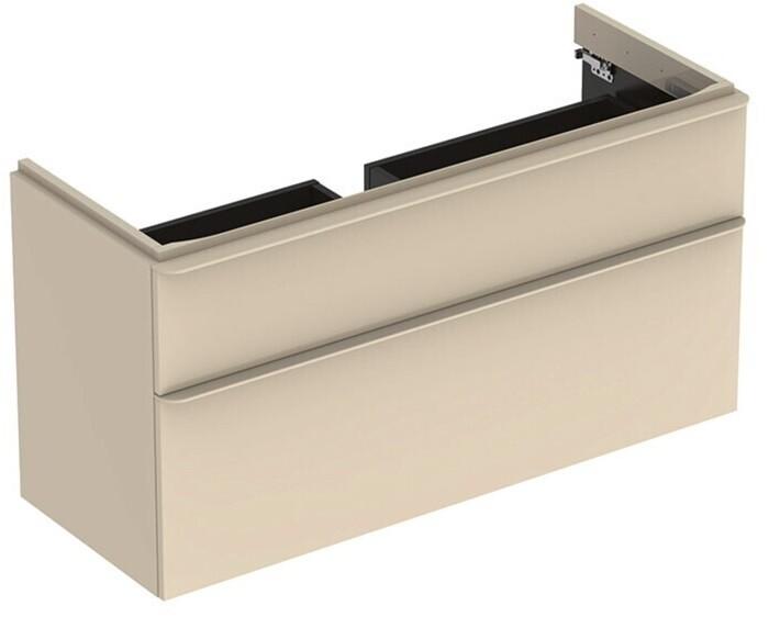 Meuble bas Geberit Smyle Square pour lavabo 120 cm avec deux tiroirs en sable gris laqué ultra-brillant