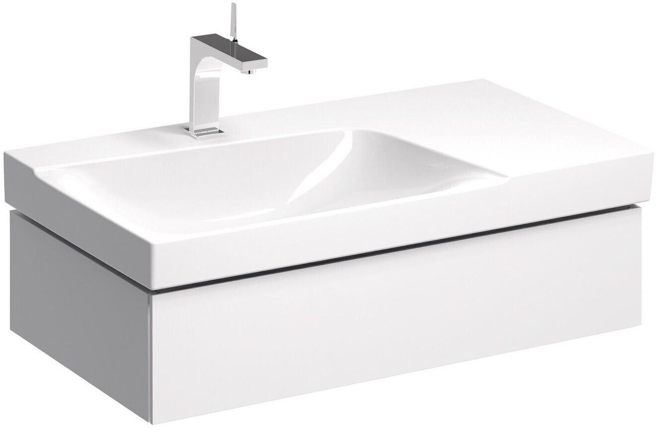 Meuble bas pour lavabo Geberit Xeno² 90 cm avec plage de dépose avec un tiroir en blanc laqué ultra-brillant