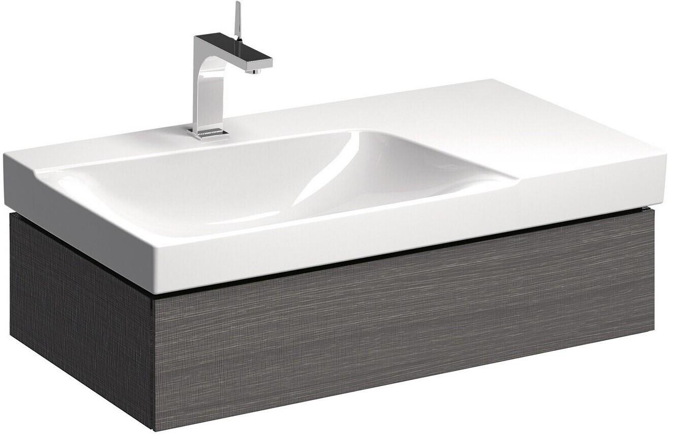 Meuble bas pour lavabo Geberit Xeno² 90 cm avec plage de dépose avec un tiroir en gris structuré bois