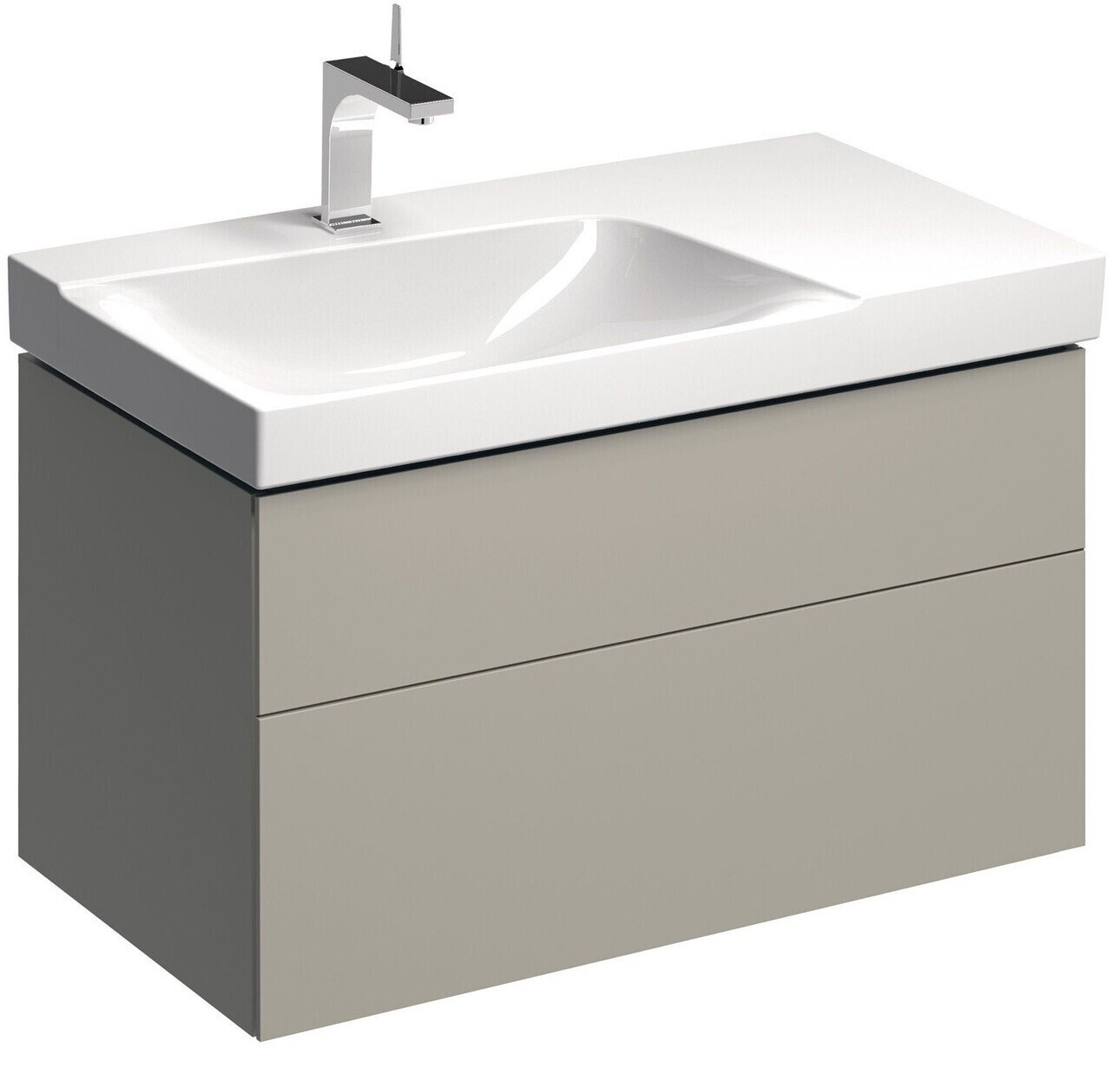 Meuble bas pour lavabo Geberit Xeno² 90 cm avec plage de dépose avec deux tiroirs en grège laqué mat