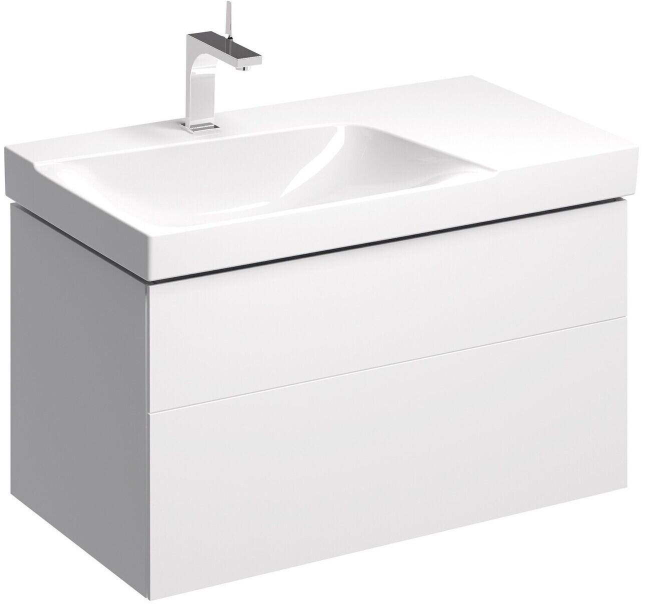 Meuble bas pour lavabo Geberit Xeno² 90 cm avec plage de dépose avec deux tiroirs en blanc laqué ultra-brillant