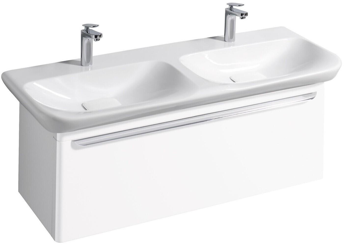 Meuble bas pour lavabo double Geberit myDay 130 cm avec un tiroir en blanc laqué ultra-brillant