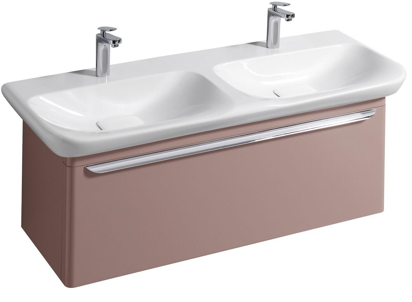 Meuble bas pour lavabo double Geberit myDay 130 cm avec un tiroir en  taupe laqué ultra-brillant