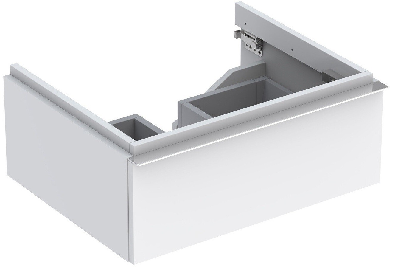 Meuble bas pour lavabo Geberit iCon 75 cm avec un tiroir en blanc laqué ultra-brillant
