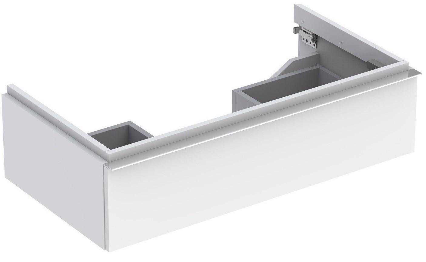 Meuble bas pour lavabo Geberit iCon 90 cm avec un tiroir en blanc laqué ultra-brillant