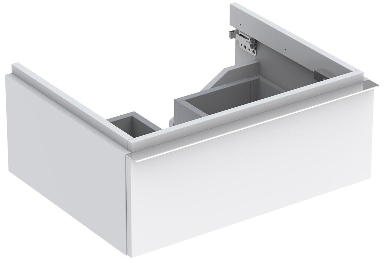 Meuble bas pour lavabo Geberit iCon 60 cm avec un tiroir en blanc laqué mat
