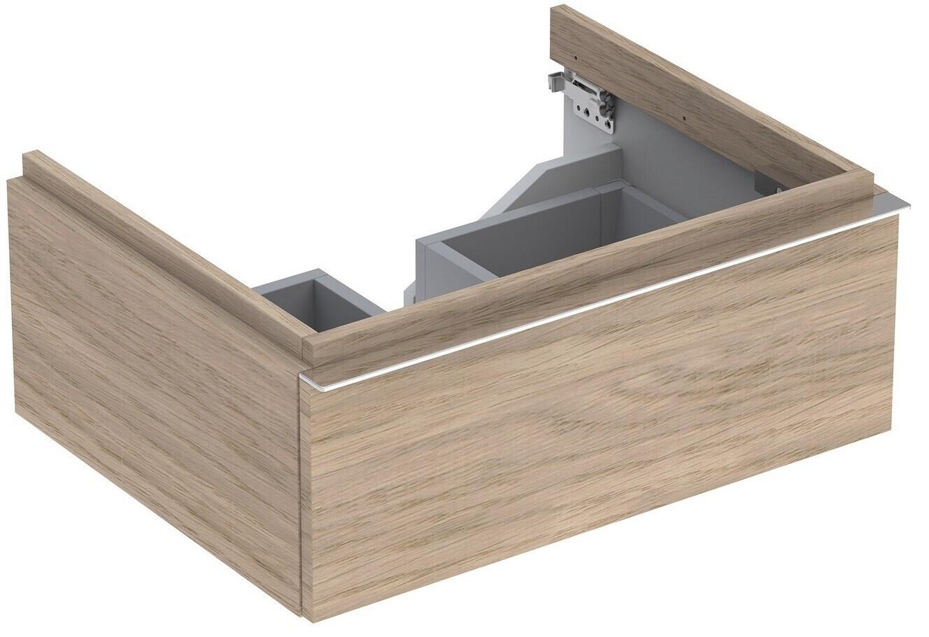 Meuble bas pour lavabo Geberit iCon 75 cm avec un tiroir en chêne naturel