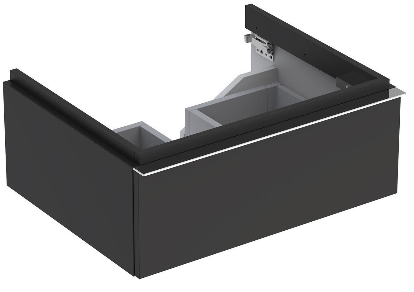 Meuble bas pour lavabo Geberit iCon 75 cm avec un tiroir en gris velouté laqué mat