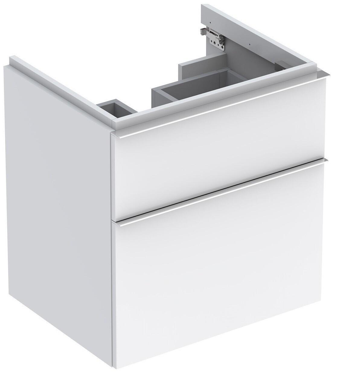 Meuble bas pour lavabo Geberit iCon 60 cm avec deux tiroirs en blanc laqué mat