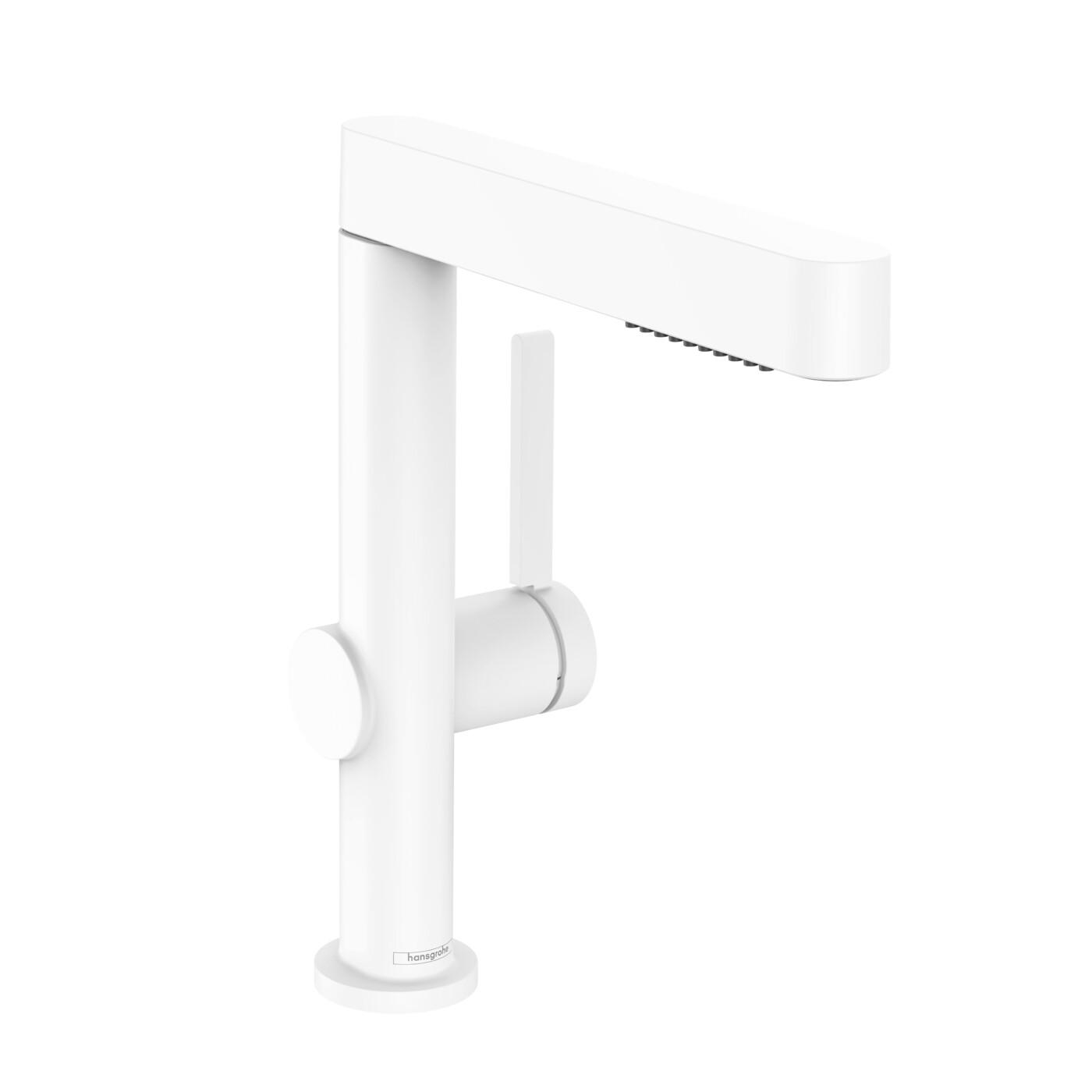 Mitigeur de lavabo Hansgrohe Finoris 230 avec douchette extractible 2 jets et bonde Push-open en blanc mat